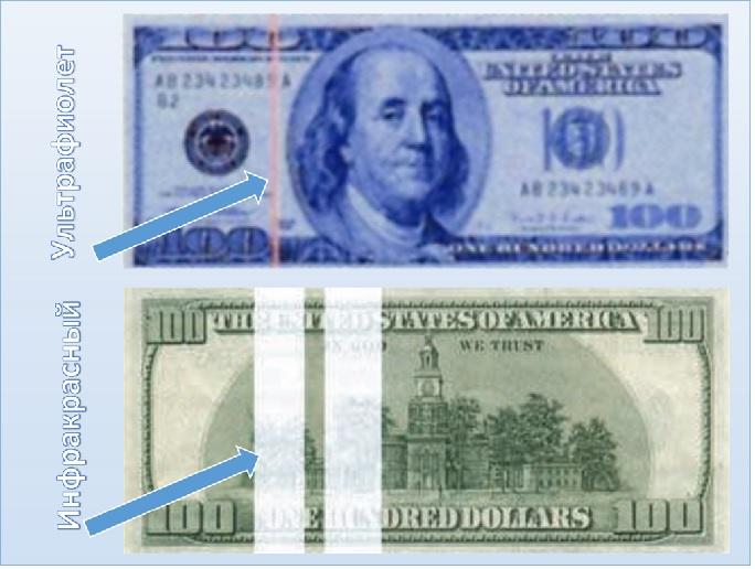 проверка долларов лучами