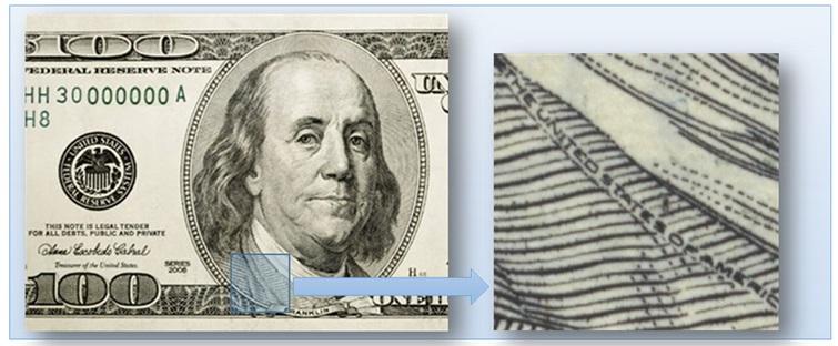 Рельеф изображений на долларах